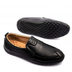 Giày tây nam cao cấp quai ngang huy hiệu màu đen GBCC10