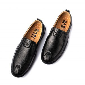 Giày lười nam cao cấp màu đen mũi cách điệu GBL24DEN