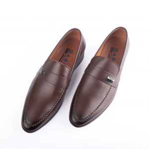 Giày tây nam cao cấp quai ngang huy hiệu màu nâu GBCC10NAU