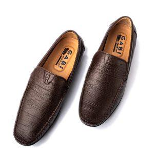 Giày lười nam cao cấp da sọc màu nâu đậm GBL13NAU