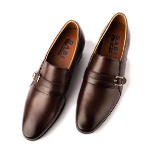 Giày tây nam công sở da nâu trơn cách điệu GBVP04-2